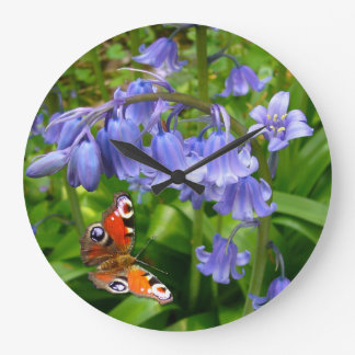 Bluebells and Butterfly ~  Decorative Clock