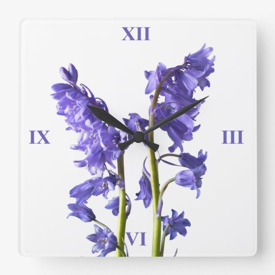 Bluebells, From the very Woods I Created! Square Wall Clock
