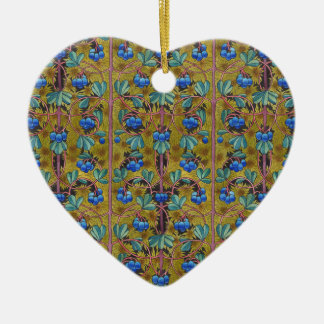 Blueberries and moss ceramic heart ornament