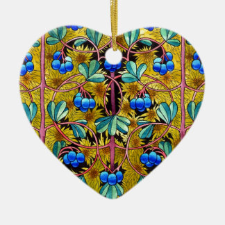 Blueberries and moss. Option 2. Ceramic Heart Ornament