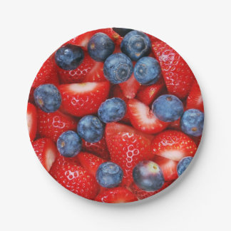 Blueberries and strawberries 7 inch paper plate