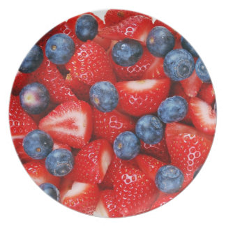 Blueberries and strawberries print plate