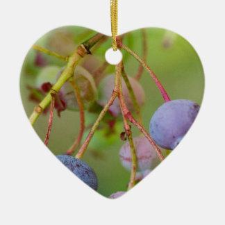 Blueberries at Acadia Ceramic Heart Ornament