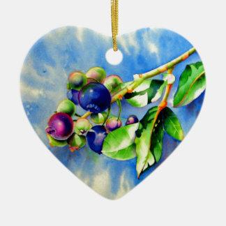 Blueberries Ceramic Heart Ornament