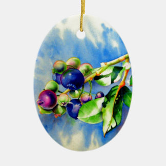 Blueberries Ceramic Ornament