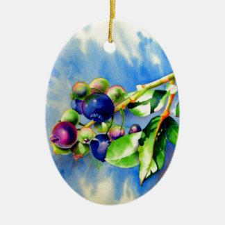 Blueberries Ceramic Oval Ornament