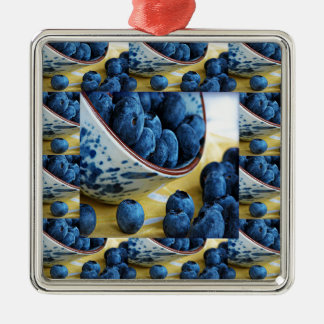 Blueberries chefs healthy diet cuisine salads Silver-Colored square ornament