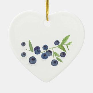 Blueberries fruit kitchen decor ceramic heart ornament