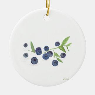 Blueberries fruit kitchen decor round ceramic ornament