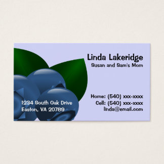 Blueberries Mommy Contact  Info Card
