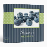 Blueberries Polka Dot Stripe Recipe 3 Ring Binders