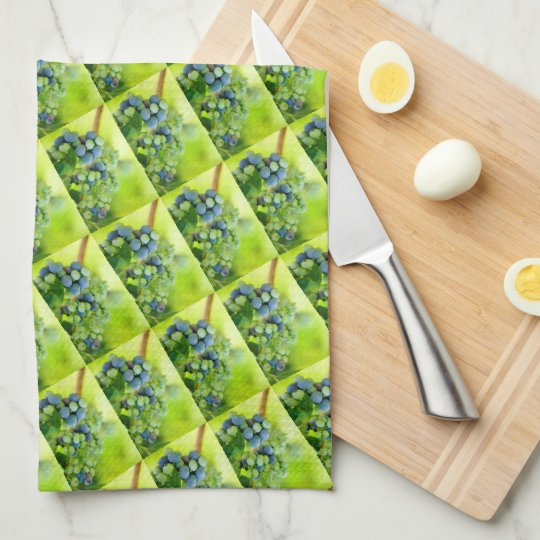 Blueberries Ripening on an Orchard Bush Kitchen Towels