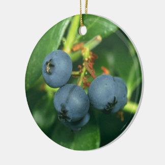 Blueberries Round Ceramic Ornament