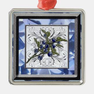 Blueberries Silver-Colored Square Ornament