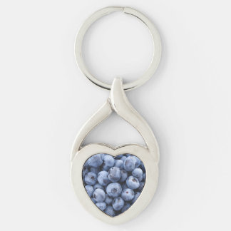 Blueberries Silver-Colored Twisted Heart Keychain
