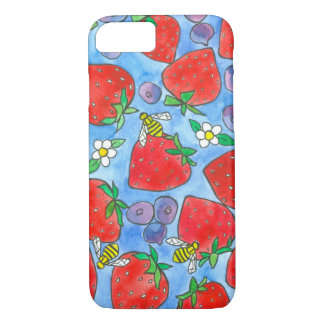 Blueberries Strawberries Honey Bees Watercolor iPhone 8/7 Case