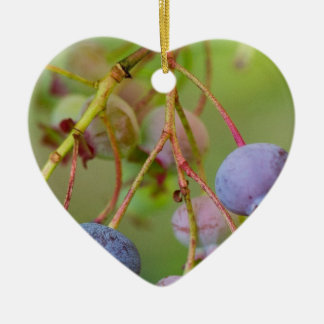 Blueberries up close ceramic heart ornament