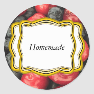 Blueberry and Cherry Fruit Jar Label Round Sticker