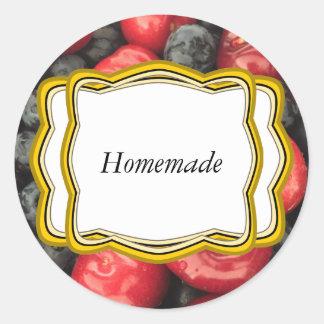 Blueberry and Cherry Fruit Jar Label Round Sticker