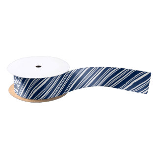 Blueberry and White Angled Candy Stripe Ribbon Satin Ribbon
