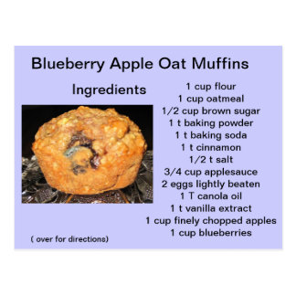 Blueberry Apple Oat Muffins Postcard
