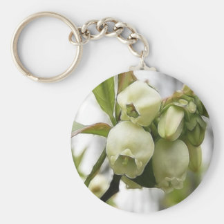 Blueberry Blossoms Basic Round Button Keychain