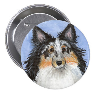 Blueberry Blue Merle Sheltie by Amy Bolin 3 Inch Round Button