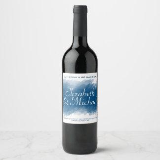 Blueberry Brush Watercolor Wine Bottle Label