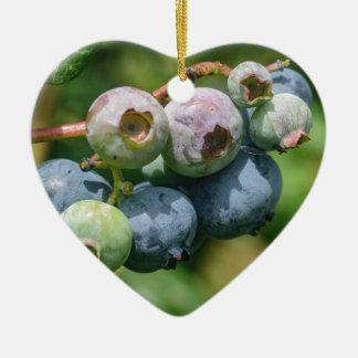 Blueberry Bush Ceramic Heart Ornament