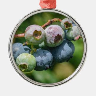 Blueberry Bush Silver-Colored Round Ornament