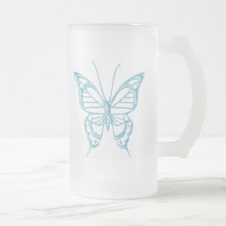 Blueberry Butterfly Mug..! Frosted Glass Beer Mug