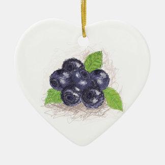 blueberry ceramic heart ornament