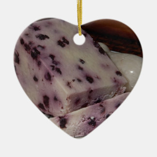 Blueberry Cheese Design Ceramic Heart Ornament