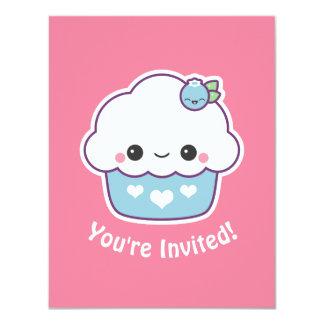 Blueberry Cupcake Birthday Party Invitations