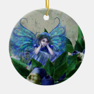 Blueberry Fairy Ceramic Ornament