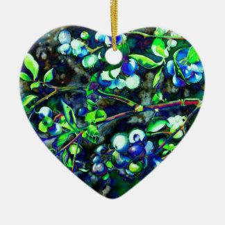 Blueberry - green hue ceramic heart ornament