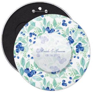 Blueberry Midsummer Rustic Wedding 6 Inch Round Button