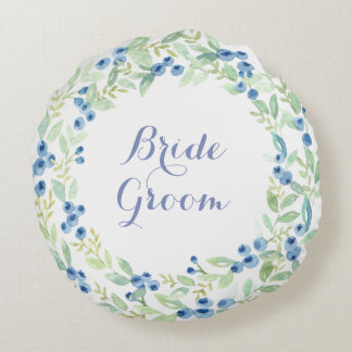 Blueberry Midsummer Rustic Wedding Forever Round Pillow