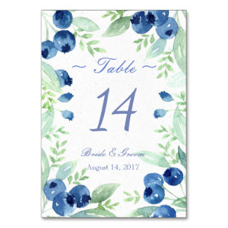 Blueberry Midsummer Rustic Wedding Table Number