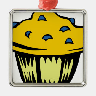 Blueberry Muffin Cartoon Metal Ornament