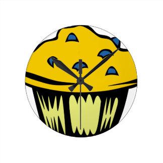 Blueberry Muffin Cartoon Round Clock