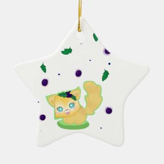Blueberry Muffin Kitty Ceramic Star Ornament