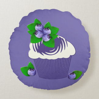 Blueberry Muffin Purple Round Pillow