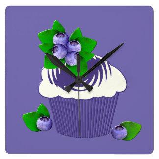 Blueberry Muffin Purple Square Wall Clock