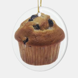 Blueberry Muffin Round Ceramic Ornament