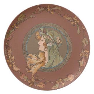 Blueberry Nouveau Art Deco Melamine Plate