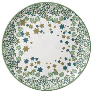 Blueberry Nouveau Art Deco Plate Stars