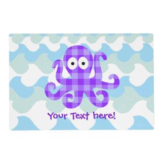 Blueberry Octopie Purple Checkered Cartoon Octopus Laminated Place Mat