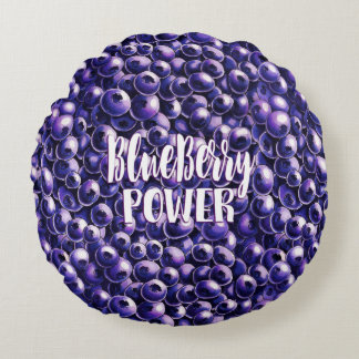 Blueberry power Fresh berry illustration Round Pillow