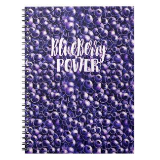 Blueberry power Fresh berry illustration Spiral Notebook